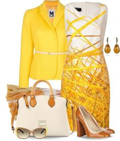 This looks like a great outfit for the office. Cheerful colours instead of the norm black. White Print Dress and Yellow Blazer. Classy Outfits, Chic Outfits, Woman Outfits, Work Fashion, Fashion Looks, Street Fashion, Mode Shoes, Modelos Fashion, Business Outfit