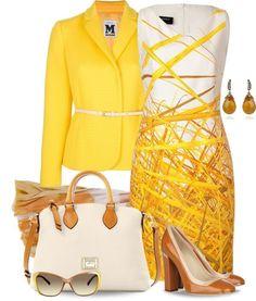 White Print Dress and Yellow Blazer
