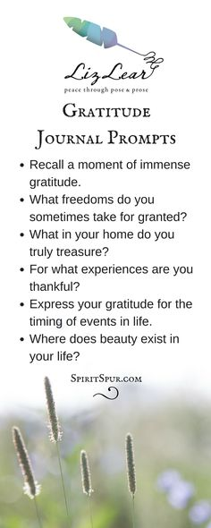 Gratitude journal writing prompts from Liz Lear   yoga journaling   thankful   Free Cultivate Contentment Guide with 20 journal prompts   peace prompts