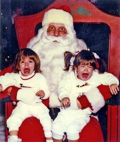 I wonder who is being tortured more. The little girls forced to take a picture with Santa, or Santa forced to hold crying/screaming little girls. LOL.  All in the way you look at it.