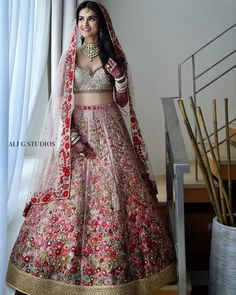 All Ethnic Customization with Hand Embroidery & beautiful Zardosi Art by Expert & Experienced Artist That reflect in Blouse , Lehenga & Sarees Designer creativity that will sunshine You & your Party Worldwide Delivery. Indian Bridal Outfits, Indian Bridal Fashion, Indian Bridal Wear, Indian Designer Outfits, Indian Dresses, Designer Bridal Lehenga, Bridal Lehenga Choli, Bridal Lenghas, Bridal Anarkali Suits