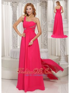 One Shoulder Ruched Bodice Customize Prom Dress With Beading Chiffon Watteau Train- $135.88  http://www.fashionos.com  http://www.youtube.com/user/fashionoscom?feature=mhee   This prom dresses is the best choice for you. It features a one shoulder neckline bodice and floor length skirt. The ruched bodice is highlighted with the sequins and crystals. The beautiful fabric is attached from the waist in the back and flows freely down to cascade to floor, creating a stunning silhouette.