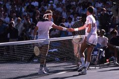 Ivan Lendl shakes hands with Pat Cash after beating him in the Semifinal round during the 1984 US Open in Louis Armstrong Stadium.