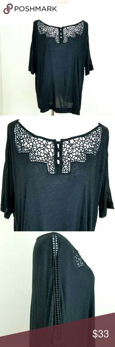 Fei Dolman Sleeve Black Crochet Cutout Top Fei Dolman Sleeve Black Crochet Cutout Top. Crochet detail at chest and down arms. 3/4th sleeve. Oversized. Thin almost burnout material. Flowy. Size tag cut, but I believe to be a large. EUC.   Bust 27 in (flat) Length 25  No Trade or PP  Bundle discounts  Offers Considered Anthropologie Tops Tees - Long Sleeve