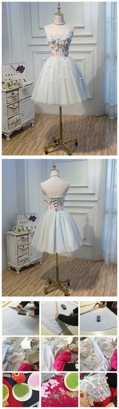 2017 CHIC HOMECOMING DRESS A-LINE SWEETHEART TULLE SHORT PROM DRESS AM043