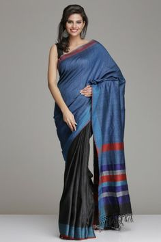 Black And Blue Hand-Woven Tussar Silk Saree With Blue Border And Striped Pallu