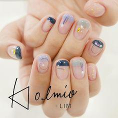 Pin by Maria Sothriou on Νυχια in 2019 Asian Nail Art, Asian Nails, Cute Nails, Pretty Nails, My Nails, Gel Nail Designs, Cute Nail Designs, Tape Nail Art, Minimalist Nails