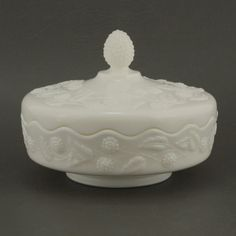 Fostoria Berry Covered Candy Bowl Milk Glass Vtg by charmings, $32.00