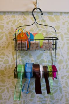 Shower caddy becomes ribbon caddy