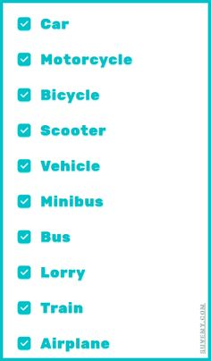 Transportation modes in English, top 10 - English Vocabulary.