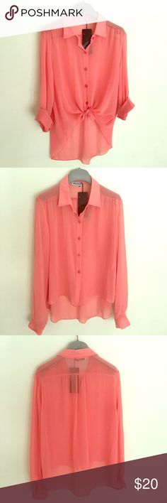 New sheer Italian Hi & low Lovely Coral color sheer shirt. Can be tied in front for that stylish look. Made in Italy. Brand new. There is no size tag, however it has s loose fit, will fit a size M. Tops