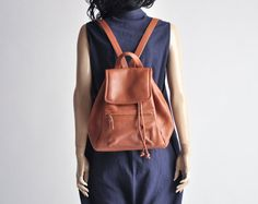russo frontier leather backpack / vintage 90s by persephonevintage