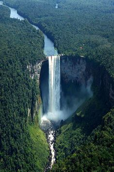Kaieteur Falls - Guyana. About 4 times higher than Niagara Falls (on the border between Canada and the United States), and about twice the height of Victoria Falls (on the border of Zambia and Zimbabwe in Africa)