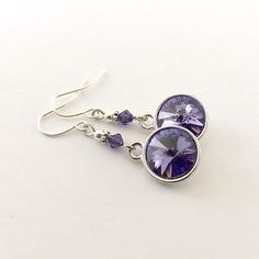 Earrings Swarovski Tanzanite Purple With Silver by CinLynnBoutique