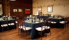 brasada ranch weddings   navy and green table settings for wedding reception