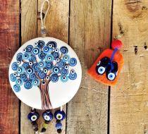 Mavi Nazar Boncuklu Çocuk Kolyesi Elyapımı mavi nazar boncuğu ve kum boncuklar kullanılarak hazırlanmıştır. Gümüşkaplama.... 252842