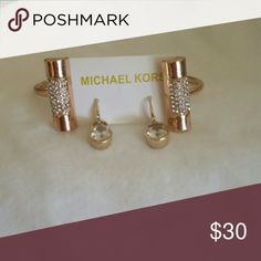 Michael kors set Bracelet crystals and is done in red gold earrings cz stone gold Jewelry Bracelets