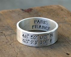 Coordinates ring. Can be personalized with the latitude and longitude of your favorite location, wedding, birthplace, etc.