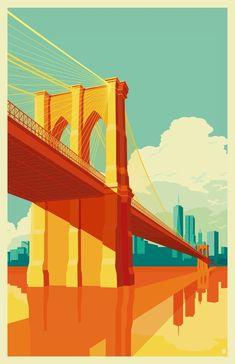 Brooklyn Bridge NYC Art Print by Remko Gap Heemskerk Digital vector pop art rendering of New York Brooklyn Bridge in vivid colors, yellows and blues.