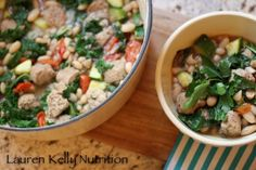 White Bean Kale and Sausage Stew | Lauren Kelly Nutrition