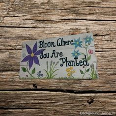 Handmade rustic wood sign - garden wood sign - bloom where you are planted - custom wood plaque - hand painted wood sign - flower wood sign by MorningStarWoodSigns on Etsy