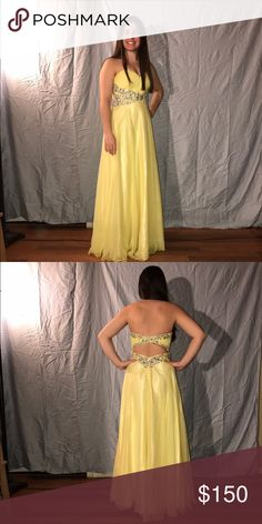 "Formal or Prom dress Long Yellow dress. Worn once. I am 5"" 3' and I'm wearing 3 inch heels. Size 4. Opened back Dresses Prom"