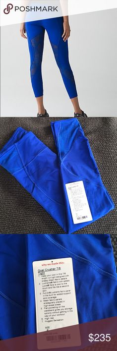 Lululemon Goal Crusher Pant Size 6 Lululemon harbor blue goal crusher 7/8 length pants. Has been worn once, have the tag but not attached. Has lace/mesh down the back leg and calf area. Perfect condition! Sold out in less than a week. Smoke free home. Cheaper on ♏️ercari lululemon athletica Pants Ankle & Cropped
