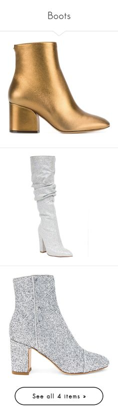 """""""Boots"""" by isabellagalbraith ❤ liked on Polyvore featuring shoes, boots, ankle booties, heels, gold, high heel ankle booties, block heel bootie, heeled bootie, almond toe booties and heeled boots"""