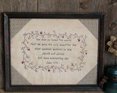 Framed Primitive Stitchery Be Kind Be by MockaMooseMarket on Etsy