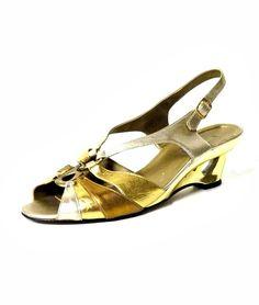 80s vintage gold decorative wedge shoes
