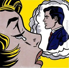 roy lichtenstein paintings | Roy Lichtenstein Paintings - Roy Lichtenstein Thinking of Him Painting
