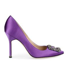 Manolo Blahnik Hangisi Satin Pump Petunia ($960) ❤ liked on Polyvore featuring shoes, pumps, purple shoes, grey pumps, high heeled footwear, grey pointed toe pumps and gray pumps