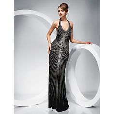 Sheath/Column Halter Floor-length Evening Dress  – AUD $ 407.74  Not quite 20's but has an art deco style design to it