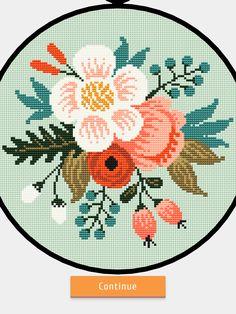 Stitch App, Hello Kitt, Cross Stitch Flowers, Cross Stitch Designs, Crochet Stitches, Needlepoint, Crochet Projects, Hand Embroidery, Kids Rugs