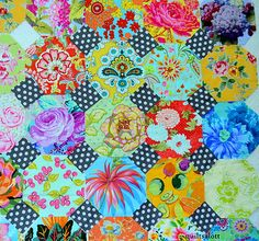 Hexagon quilt Just a good idea on using the swiss dot fabric to give an updated look