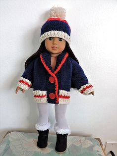 Dollie-Clothes free knitting doll patterns | AMG Grandpas sweater *NEW*