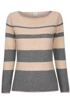 100 Cashmere Fondaxaro Sweater Striped · Maglie Rosa Chiuse r71qrOxZ