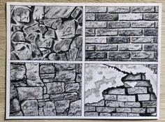 Stone and brick wall textures with pencil – ART – etexture Texture Sketch, Pencil Texture, Texture Drawing, Texture Art, Brick Wall Drawing, Abstract Tree Painting, Architecture Concept Drawings, Interior Design Sketches, Brick Texture