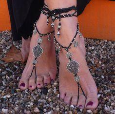 "Valentine's day FILIGREE "" Heart of Viana"" BAREFOOT SANDALS black foot jewelry hippie sandals crochet tribal sandals portuguese jewelry"