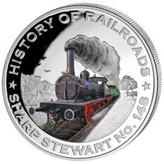 """History of Railroad """"Sharp Stewart No. Railway Posters, Coins For Sale, Liberia, Buy Bitcoin, Coin Collecting, Silver Coins, Bulgaria, Metallica, Warriors"""