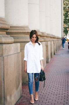 button down shirt with skinny jeans and nude pumps                                                                                                                                                     More