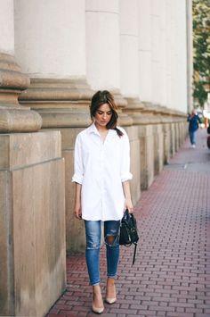 Street Style // Oxford Boyfriend Shirt x Ripped Skinny Jeans