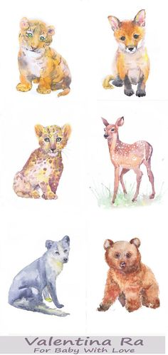 Woodland Nursery Decor Art Set of 6 Prints Watercolor Painting Boy Girl BabyAnimals Wall art Watercolour Print Creatures, forest animals  Set of 6 prints -   high quality fine art prints of my original watercolor painting. It is the work of a watercolor series Portraits of the Heart    Size paper: 14,8 × 21cm,5 4/5 × 8 1/4, A5 (with white borders) - 36.00 $  21 cm x 29,7 cm, 8 1/4 x 11.5/8, A4.(with white borders) - 68.00 $  29,7cm × 42cm, 11,69 × 16,54, A3(with white bord...