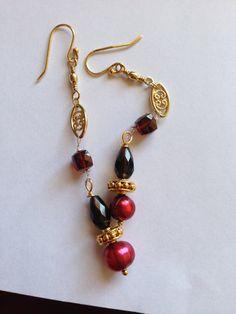 Burgundy Pearl smoky Quartz Garnet gold earrings by Lilyb444,