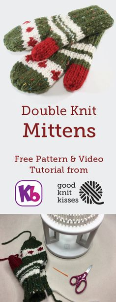 These cozy mittens are double knit in a flat panel on the KB Looms Rotating DKL. Double Knitting Patterns, Loom Knitting Stitches, Knitted Mittens Pattern, Knitting Machine Patterns, Knifty Knitter, Loom Knitting Projects, Knit Mittens, Loom Patterns, Knitting Designs
