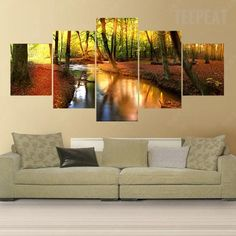 Forest Stream Painting - 5 Piece Canvas