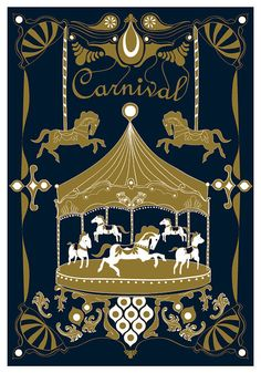 Merry - Go - Round Art Print - Royal Color - Horse Illustration Wedding Birthday Anniversary GIft Children decor Kids Wall poster