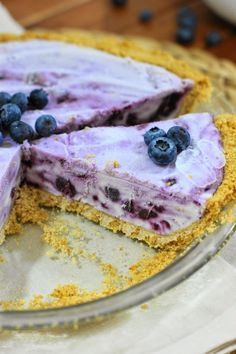 Frozen Blueberry Cream Pie ~ beautifully swirled with fresh blueberries.    www.thekitchenismyplayground.com