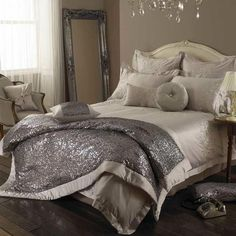 Kylie Minogue at home, luxury sequin bedding