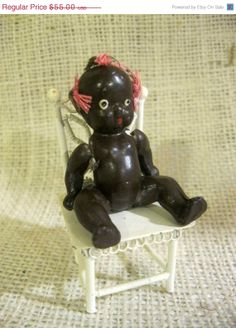 ON SALE.. Vintage Black Americana Bisque Doll Figurine Jointed Marked Japan